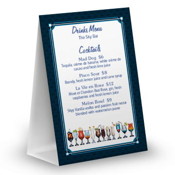 Cocktail Bar Table Tent