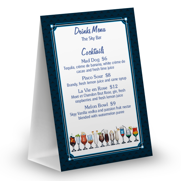 Customize Cocktail Bar Table Tent