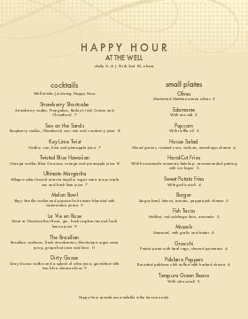 Cocktail Happy Hour Menu