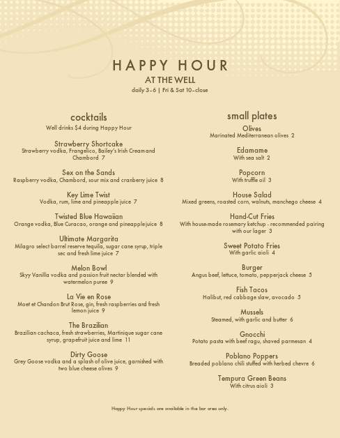Customize Cocktail Hour Menu