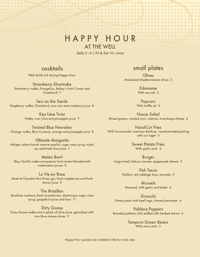 Cocktail Happy Hour Menu