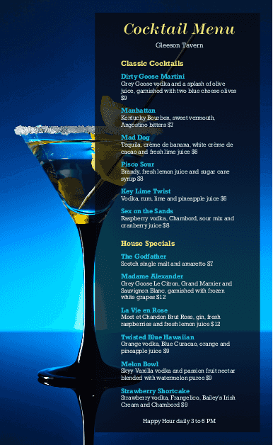 Customize Cocktails Menu