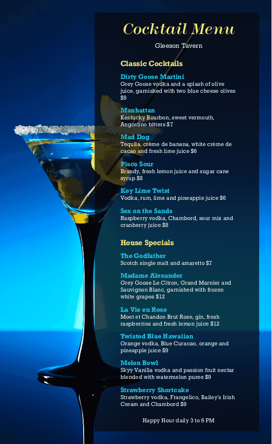 Drink Menu | Mandez's Seafood Bar and Grill | Best Drinks ...
