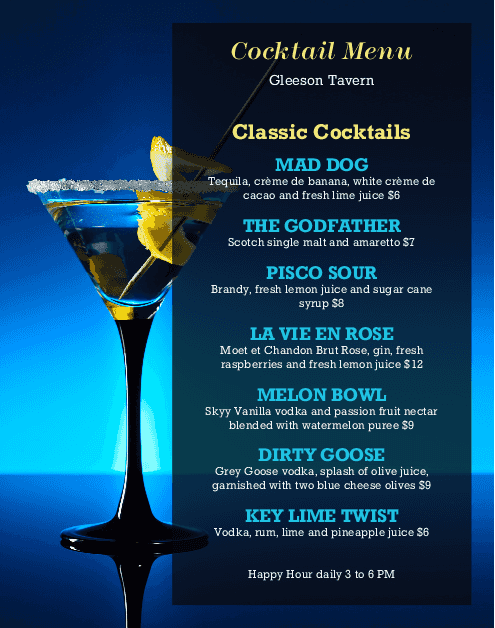 Customize Cocktails Wall Menu