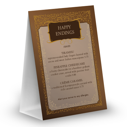 View Chocolate Table Tent Menu