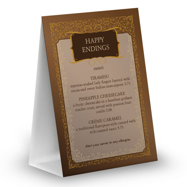 Customize Chocolate Table Tent Menu