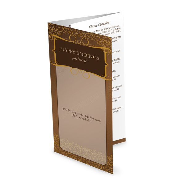 Customize Trifold Chocolate Menu