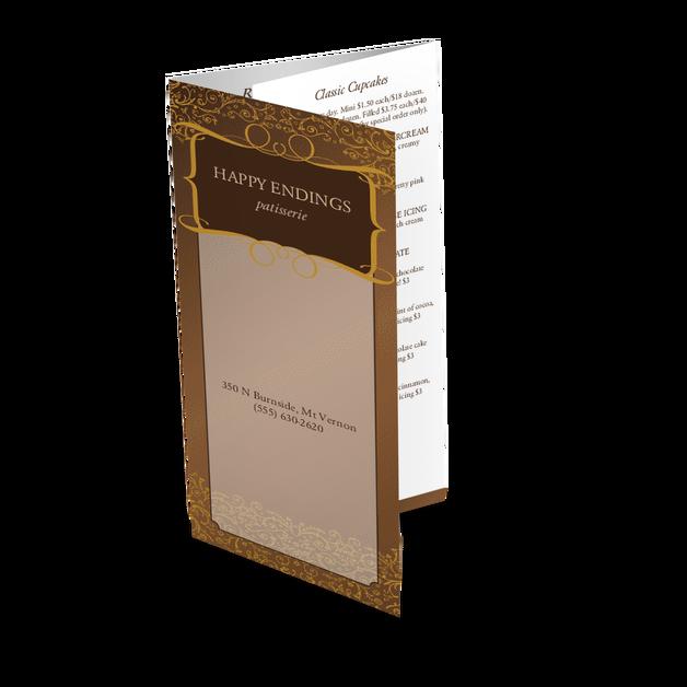 trifold chocolate menu takeout menus