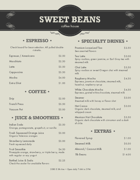 Customize Coffee Shop Menu