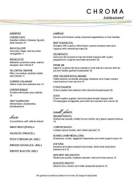 Customize Color Fine Dining A4 Menu