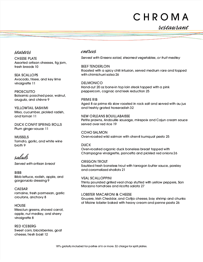 Color Fine Dining Long Menu