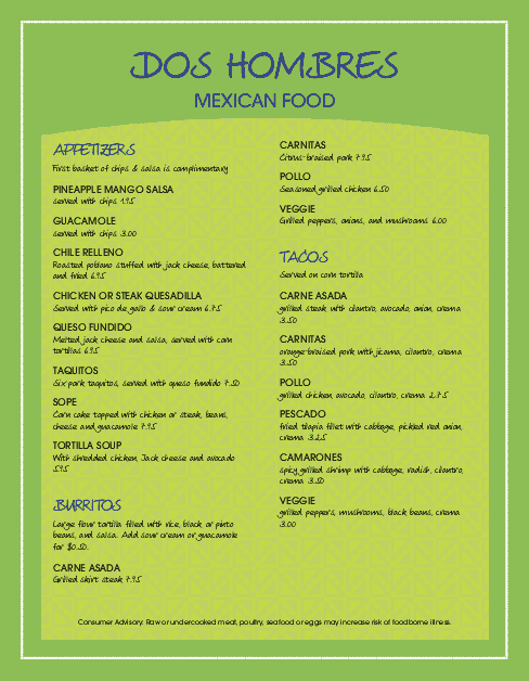 Customize Colorful Mexican Menu