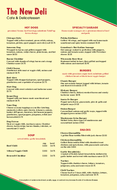 Customize Corner Deli Menu Long