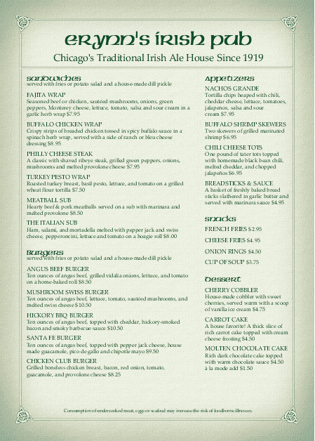 Customize A4 Corner Pub Irish Menu