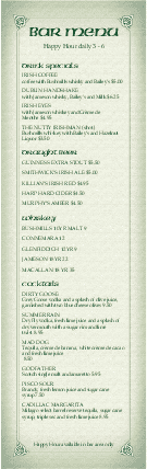 Customize Corner Pub Irish Bar Menu