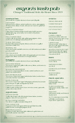 Customize Corner Pub Irish Menu Legal