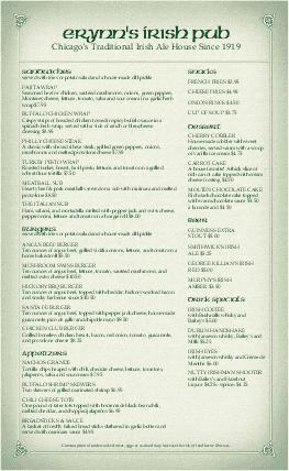Customize Corner Pub Irish Menu Legal