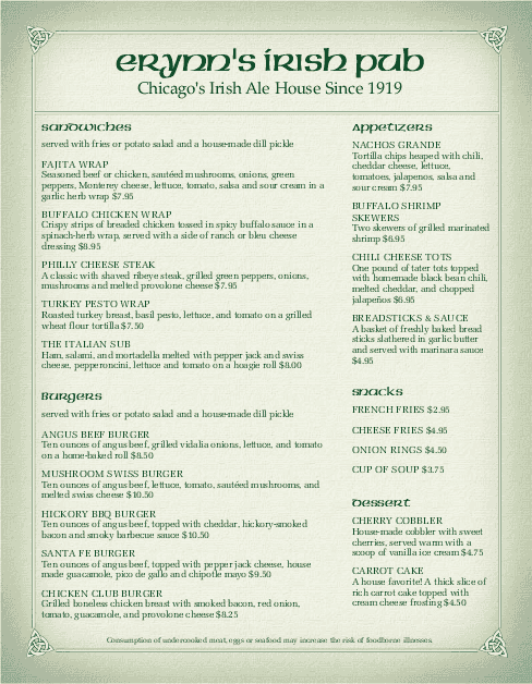 Customize Corner Pub Irish Menu