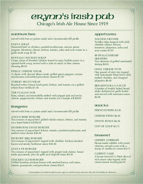 Corner pub irish menu irish menus for Irish menu templates