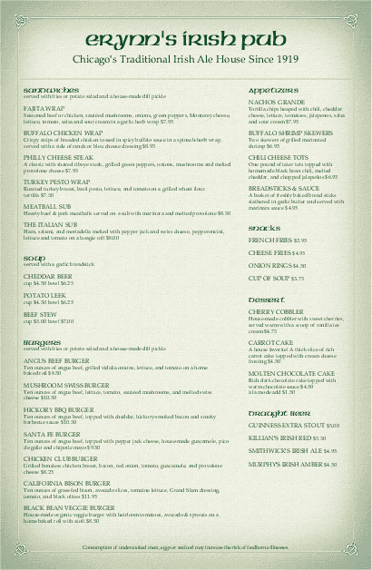 Customize Corner Pub Tabloid Irish Menu