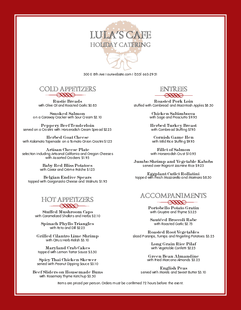 Customize Corporate Holiday Catering Menu
