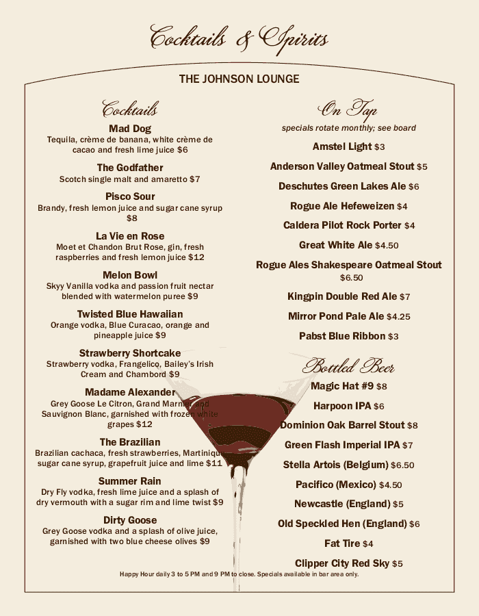 Cosmo Cocktail Menu