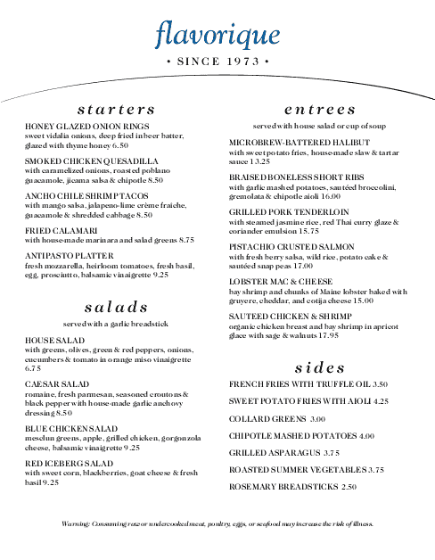 Customize Country Cafe Menu