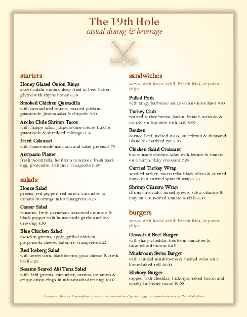 Customize Country Club Grill Menu