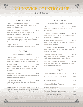 Customize Country Club Lunch Menu