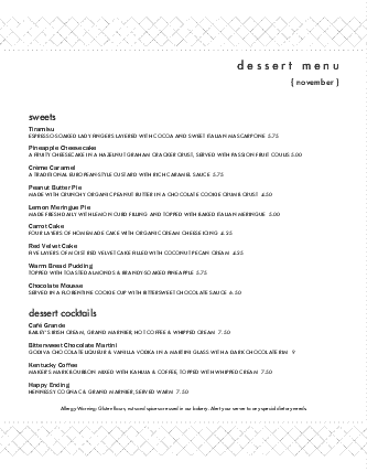 Customize Dessert Bar Menu