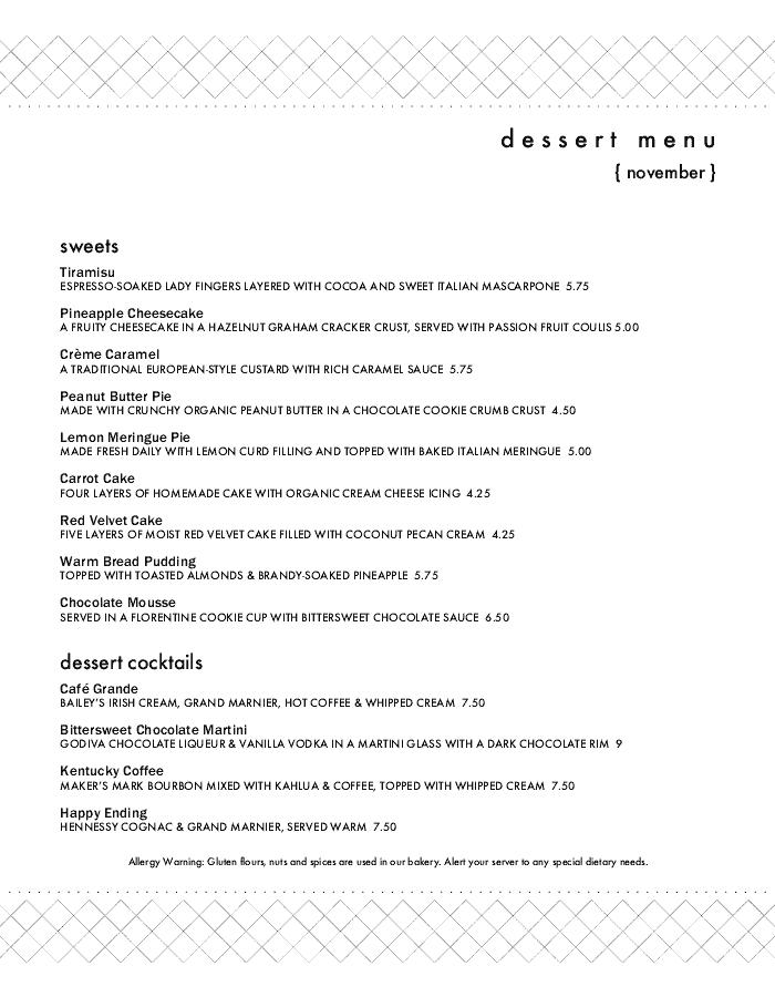 Dessert Bar Menu