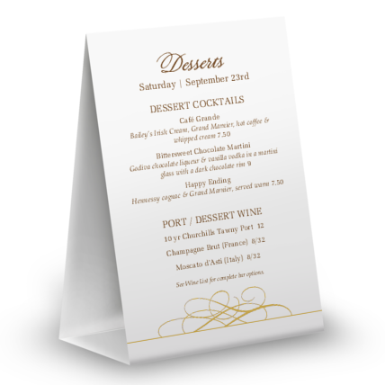 View Dessert Cake Table Tent Menu