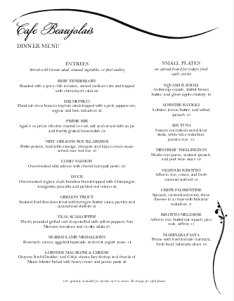 Customize Graceful Black and White Menu