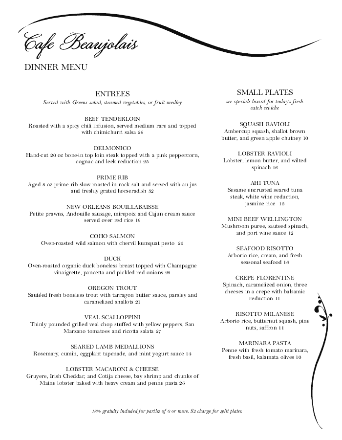 Graceful Black and White Menu