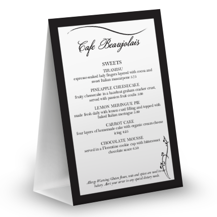 View Dinner Table Tent Menu