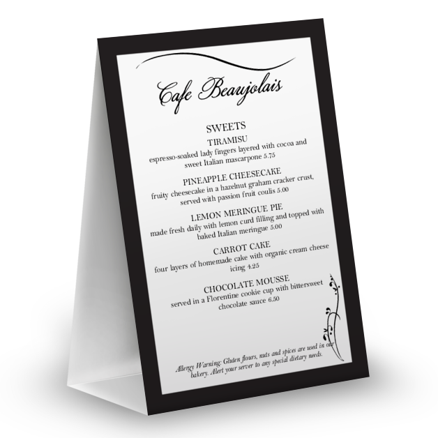 Customize Dinner Table Tent Menu