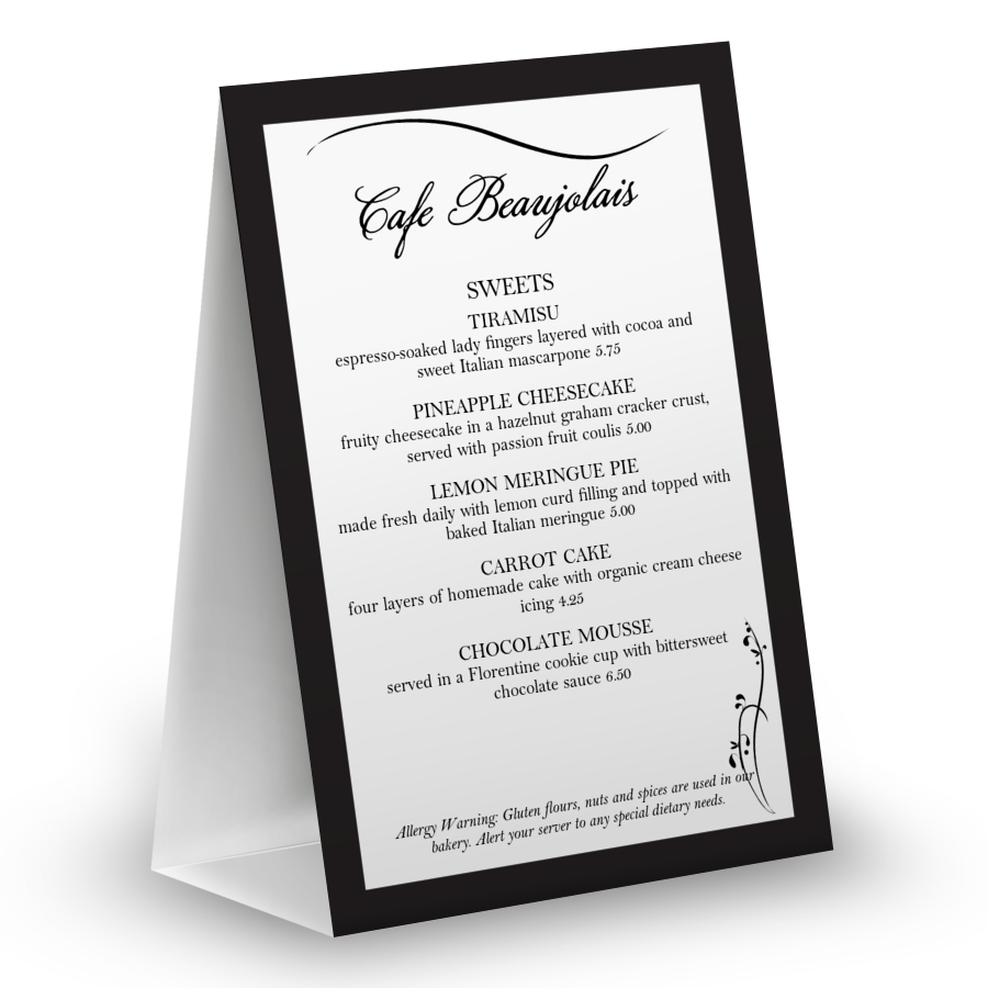 dinner table tent menu table tent