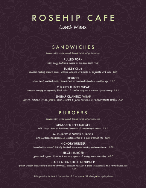Customize Downtown Cafe Menu