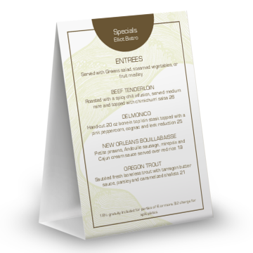 Table Menu Template | table 20tent 204x6 table tent 360