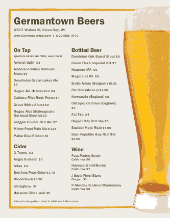 Customize Draught Beer List