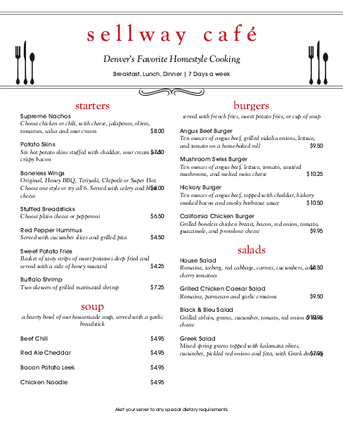 Customize East Cafe Menu