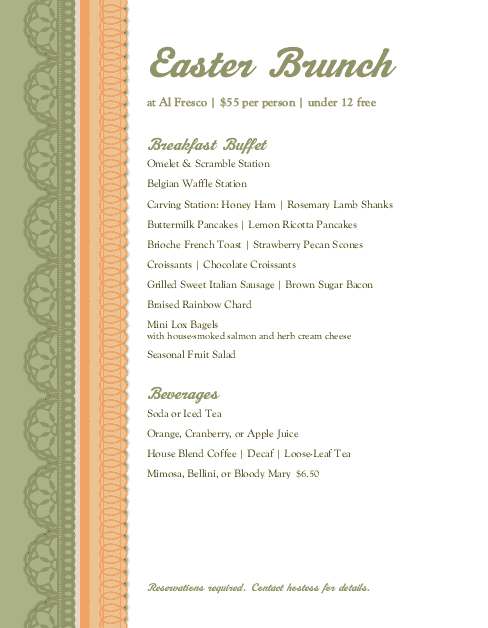 Customize Easter Brunch Buffet Menu
