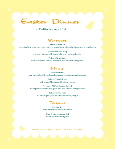 Customize Easter Menu