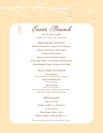 Customize Restaurant Easter Brunch Menu
