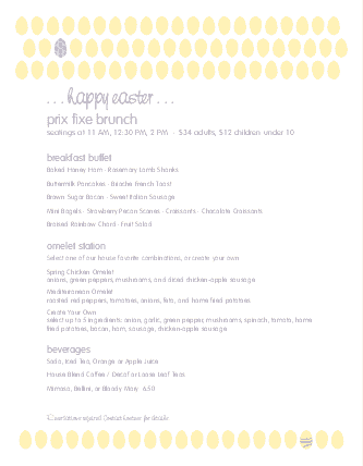 Customize Easter Sunday Brunch Menu
