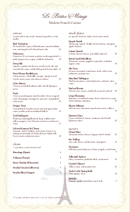 Customize Eiffel Tower Long French Menu