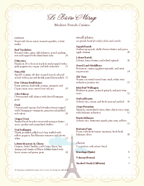 Customize Eiffel Tower French Menu