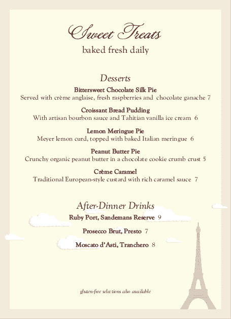 Customize French Desserts Table Tent Menu