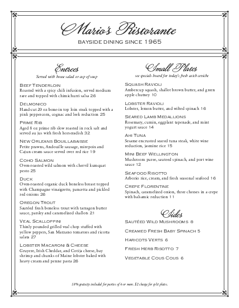 Customize Elegant Fine Dining Menu