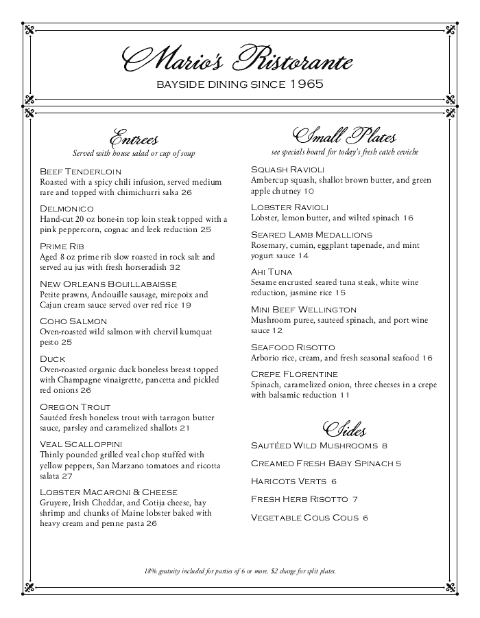 Elegant Bar Menu